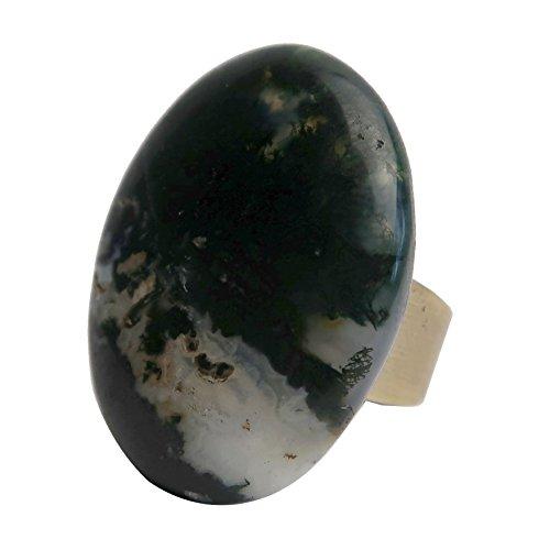 SatinCrystals Agate Moss Ring 4-7.5
