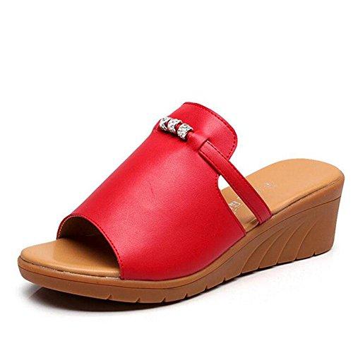 L@YC Damen Sandalen Leder Einteilige Neigung Neigung Mit Rinder Sehne 2017 Schuhe , red , 40