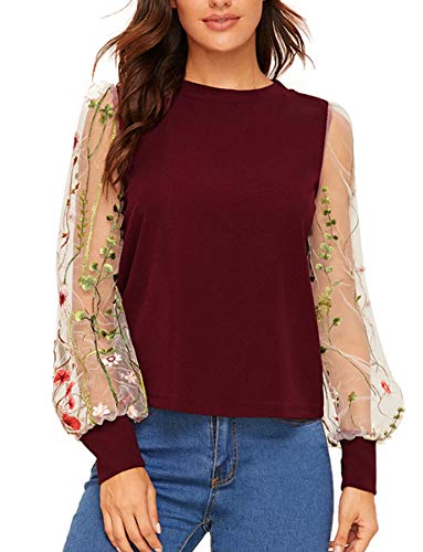 Romwe Women's Embroidered Floral Mesh Bishop Sleeve Loose Casual Blouse Top Burgundy S ()