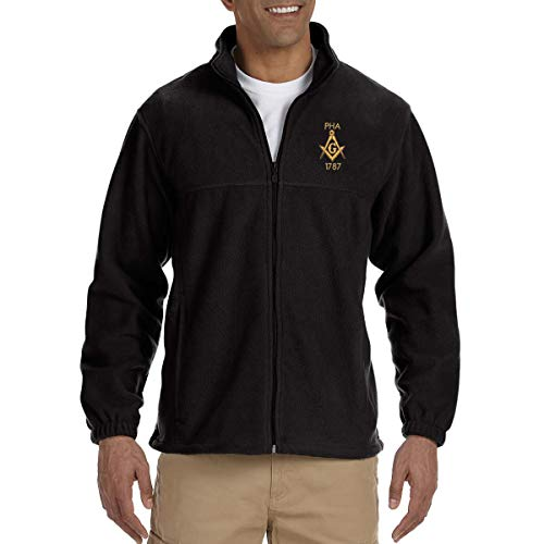 Prince Hall 1787 Embroidered Masonic Men's Fleece Full-Zip Jacket - [Black][Large]
