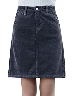 IDEALSANXUN Women's Slim Fit High Waist Short Corduroy Mini Skirt