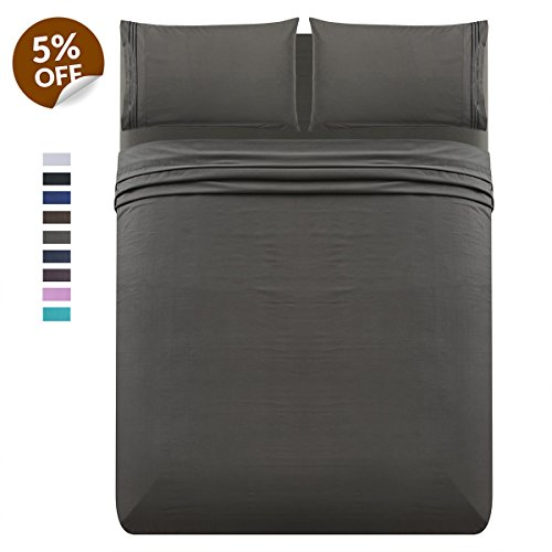 Luxe Manor 4pc California King Bed Sheet Set - Soft Brushed Microfiber Fitted Flat Sheet & Embroidered Pillow Case Set - Deep Pocket Wrinkle Free Hypoallergenic Bedding, Best Christmas Gifts, Gray - Embroidered Fitted Sheet