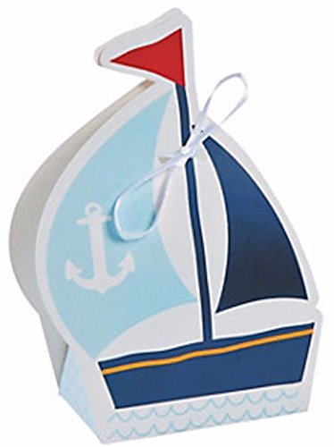 60 NAUTICAL SAILOR TREAT BOXES SAILBOAT NEW Nautical Favors Birthday Baby Shower]()