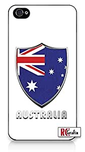Premium Australia Flag Badge Direct UV Printed iPhone 4, 4s Quality TPU SOFT RUBBER Snap On Case for iPhone 4 - AT&T Sprint Verizon - White Case