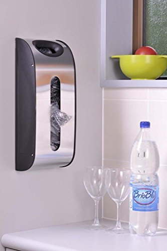 Grocery Bag Dispenser Wall Mount Kitchen Stainless Steel Plastic Bag Holder Storage