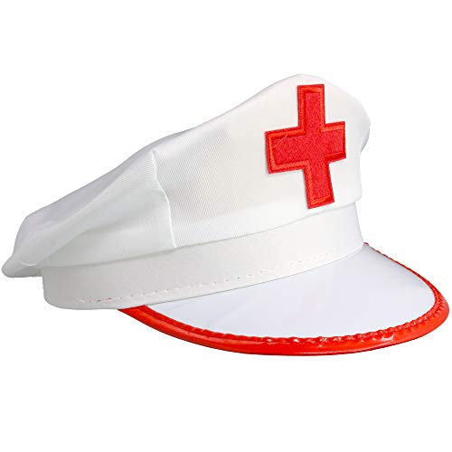 Skeleteeen White Nurse Costume Hat - Nurse's Red