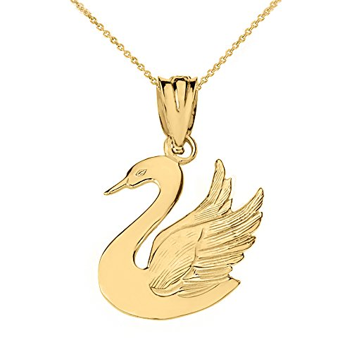 Polished 10k Yellow Gold Bird Charm Swan Animal Pendant Necklace, 20