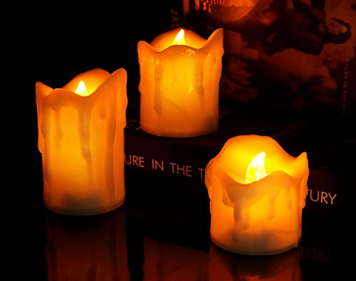 Halloween Flickering Tealight Candles Amber Yellow Flicker Battery Led Tea Lights Warm Glow Candlelit Lighting For Wedding Christmas Decoration Flameless Wax Dipped Electric Votive Candle Candelabra -