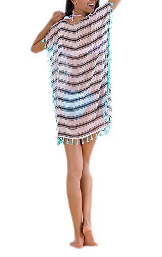 DELEY Rayures Bikini Plage d't Femme Tunique de Cover Blanc Blouse Robe Up CCqxaS5wOr