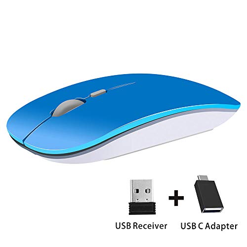(TENMOS T9 Silent Wireless Mouse, 2.4G Ultra Slim Portable Travel Mouse Optical Computer Mice with USB Receiver Type-C Compatible with Notebook, PC, Laptop, Computer (Blue))