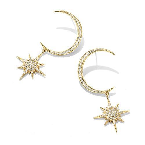 - Moon&Star Dangle Earrings Women Crystal Stud Shinning Rhinestone Pendant Fashion Party Wedding Clip on Ear Jacket Jewelry Golden
