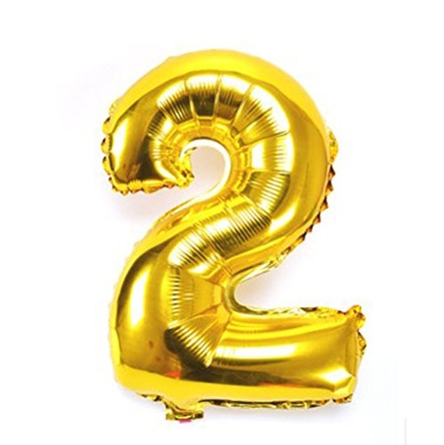 32 inches large Gold Silver Number Foil Balloons Digit air Ballons Birthday Party Wedding Decor Air Baloons Event Party Supplies Gold 2