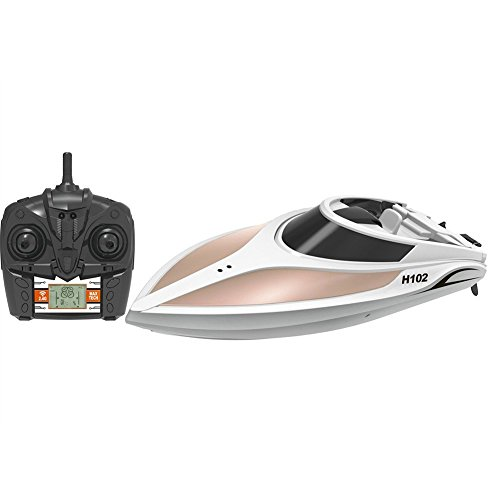 Radio Controlled Sailboat (Haehne Radio Controlled Toy High Speed Racing RC Boat, LCD Screen, 2.4G System, Reversion, Left / Right Switch Mode, Remote Control Model Ship, Automatical Overturn, Wireless Electric Toy)