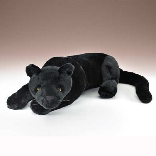"""Black Panther Plush Toy Lying 21"""" L By Wildlife Artists"""