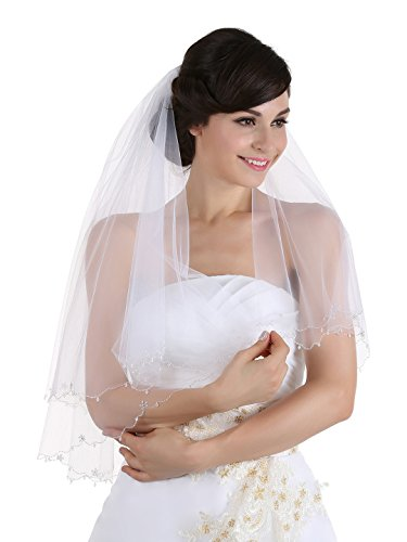 (2T 2 Tier Floral Beaded Dangle Crystal Scalloped Veil - white Elbow 30