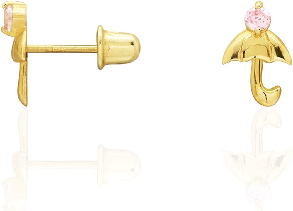 Yellow Gold Ruby 14k Yellow Gold White Gold Simulated Gemstone Umbrella Screw Back Stud Earrings