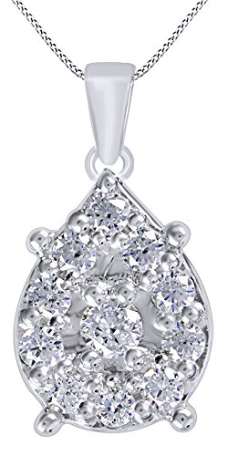 (AFFY Round Cut White Natural Diamond Pear Shaped Cluster Pendant Necklace in14K White Gold Over Sterling Silver (1.05 Cttw))