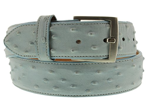 El Presidente - Men's Bright Blue Ostrich Quill Print Leather Cowboy Belt Silver Buckle 32