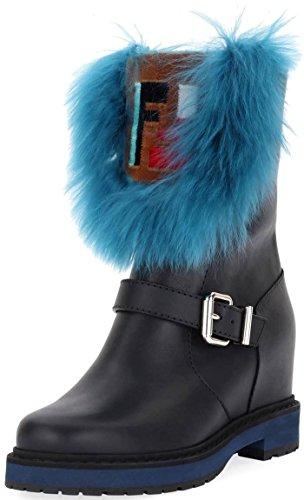 (Fendi Tall Hidden Wedge Fur Boots Size 37 Black)