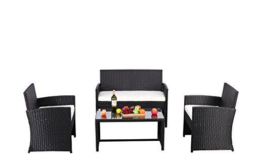 Cheap  Do4U Outdoor Patio Furniture Set 4 Pcs PE Rattan Wicker Garden Sofa..