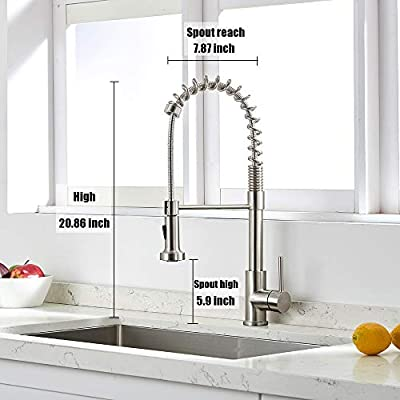 VAPSINT Well Recommended Stainless Steel Spring Brushed Nickel Mixer Pre Rinse Pull Down Sprayer Single Handle Kitchen Faucet, Pull Out Kitchen Sink Faucet