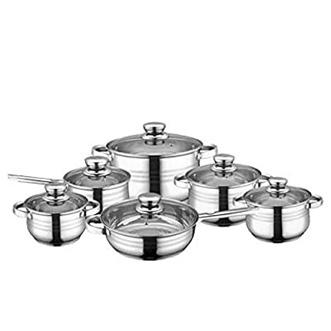 ROYALTY LINE 12 piezas batería de cocina de acero inoxidable: Amazon.es: Hogar