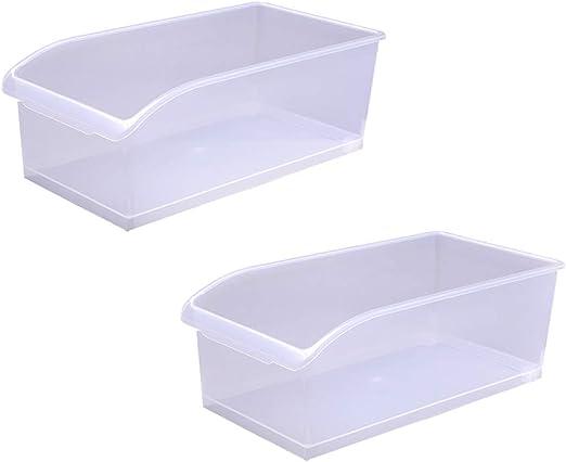 Cocina Nevera Caja de Almacenamiento Caja de plástico Transparente Alimentos Caja de Almacenamiento cajón Cesta de Almacenamiento (2 Piezas): Amazon.es: Hogar