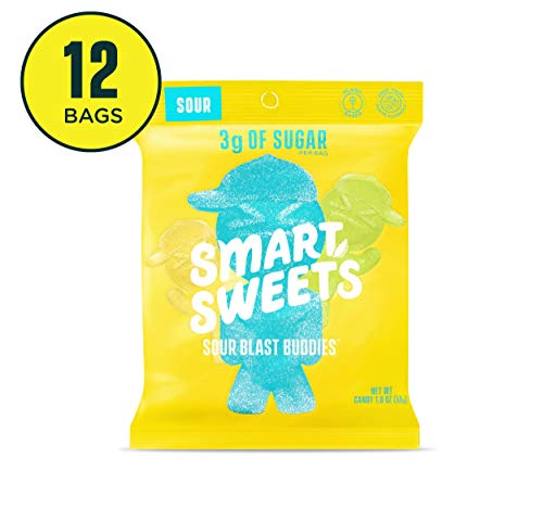 - SmartSweets Sour Blast Buddies 1.8 oz bags (box of 12), Candy with Low-Sugar (3g) & Low Calorie (80)- Free of Sugar Alcohols & No Artificial Sweeteners, Sweetened with Stevia