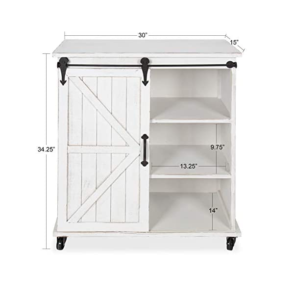 Kate and Laurel Cates Multi-Purpose Wooden Rolling Kitchen Cart Storage Cabinet with Sliding Barn Door and Locking…