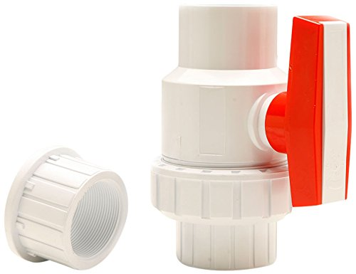 Red Flag Products Single Union Ball Valve Slip Water Pump Socket with Extra End Connector, 1/2-Inch, White