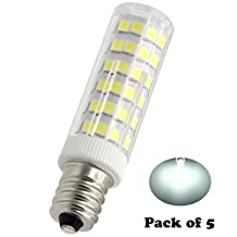E12 LED Bulbs Base 6W Replacement halogen 50W Equivalent ,for Candelabra bulb , dimmable White light 6000K 110V-120V Ceiling Fan Chandelier, Indoor Decorative Lighting Pack-5