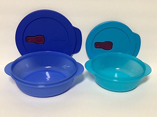 Tupperware Crystalwave Microwave Plus Stainguard 2 Pc Set 4.25 Cup and 2.5 Cup - Blues (Crystalwave Tupperware Container)