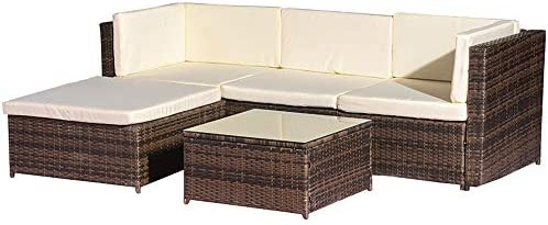 Remarkable Rikis 5 Piece Outdoor Patio Pe Rattan Wicker Sectional Sofa Furniture Set With Seat Cushions For Garden Lawn Pool Backyard Creativecarmelina Interior Chair Design Creativecarmelinacom