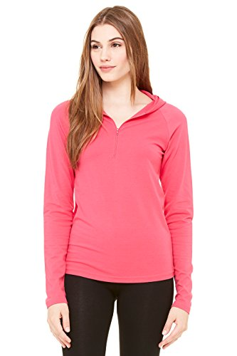Zara Yoga Studio |LA| Women's Cotton Spandex Half-Zip Hooded Pullover (Medium /Fuchsia)