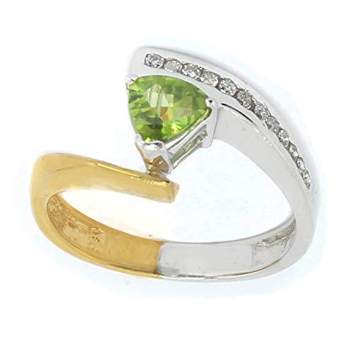 (Michael Valitutti 10K Trillion Peridot & Diamond Ring)