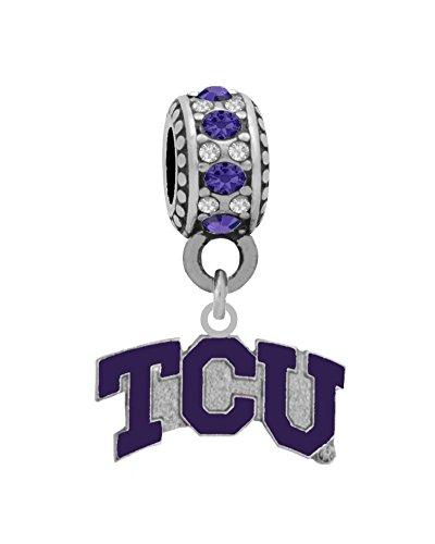 Texas Christian University Logo Charm Fits European Style Large Hole Bead Bracelets Personality, Reflections, Silverado and More (Charm Silverado Bead)