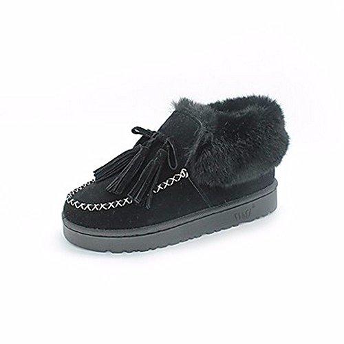 ZHUDJ Damenschuhe Fallen Snow Boots Flachem Absatz Runder Mid-Calf Stiefel Quaste Für Casual Grün Grau Schwarz Black