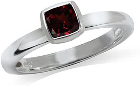 Cushion Cut Garnet 925 Sterling Silver Solitaire Stack/Stackable Solitaire Ring