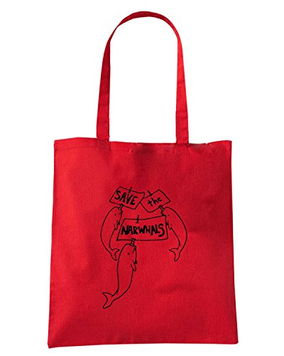 T-Shirtshock - Bolsa para la compra FUN0115 05 17 2013 Save the Narwhals T SHIRT det Rojo