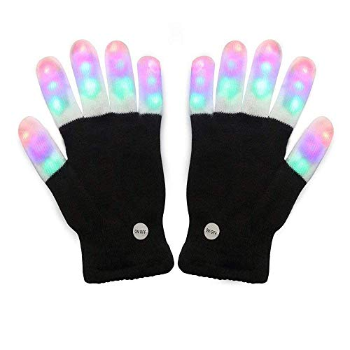 #1 Premium Quality LED Lighting Gloves, Flashing Fingers, Rave Gloves, Colorful Gloves, Light Show by TRITECHNOX (Black - Lighting Fingers, Type 1)]()