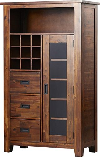 Kitchen Pantry Rustic & Cabin Style Warm Tones and Smooth Finish 5 Fixed Shelves Behind One Cabinet Door Modified Mission Hardware Removable Wine Rack Hold 9 Standard Bottles by GAShop