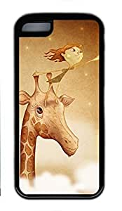 Soft Case Shell for iPhone 5C Covered with Picking Star on Giraffe,Customized Black TPU Cover Skin for iPhone 5C,Cute iPhone 5C Case