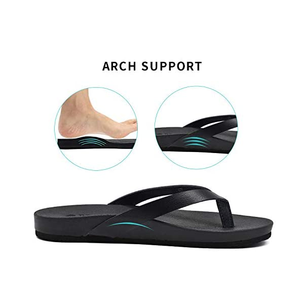 ONCAI Womens Flip Flops for Women Black for Girls Waterproof Outdoor Summer Beach Slippers with Arch Support Women Sandals