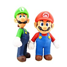 Win8Fong Super Mario and Luigi Bros Figure Toy Doll Set of 2pcs Plastic PVC Figure Collection
