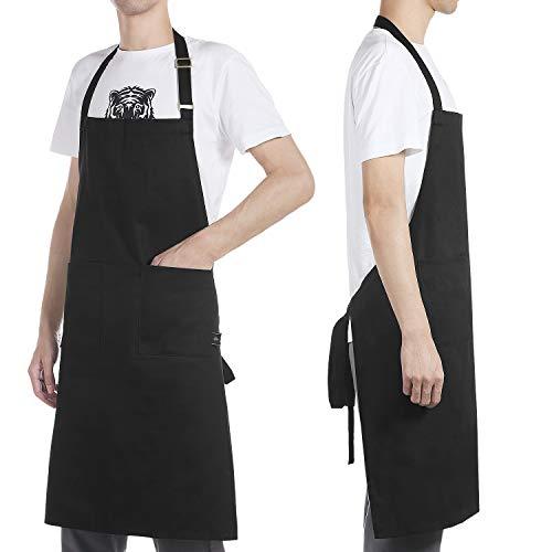 BONTHEE schort kookschort met zakken zwart Chef kookschort 100% katoen wasbaar en onderhoudsvriendelijk