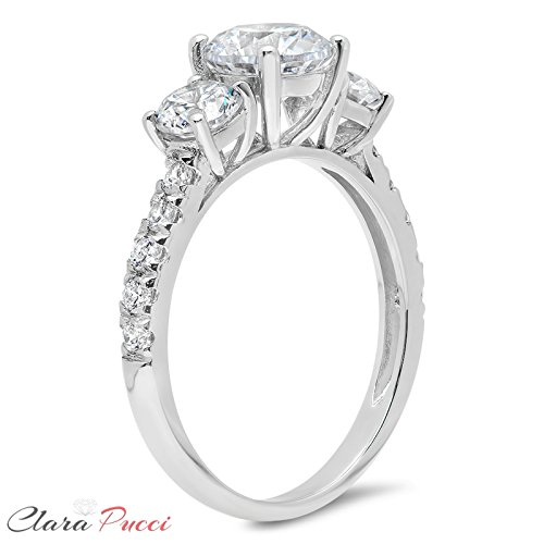 2.2 Ct Round Cut Pave Three Stone Accent Promise Bridal Engagement Wedding Anniversary Band Ring 14K White Gold, Clara Pucci