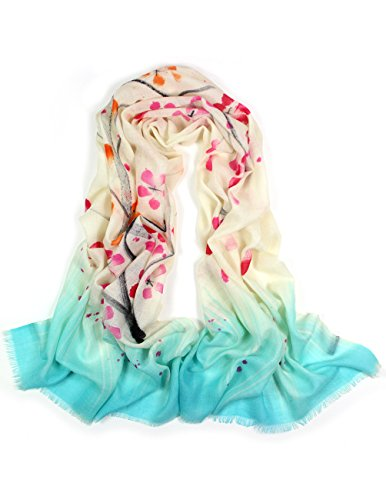 Dahlia Women's 100% Merino Wool Pashmina Scarf - Hand Painted Bloosom Branch