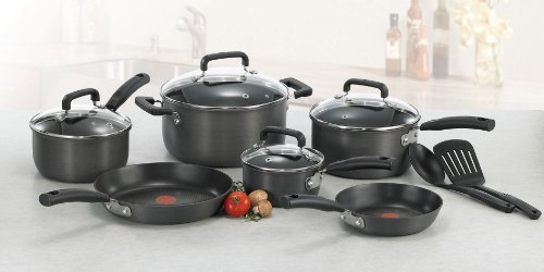 T-fal D913SC Signature Hard Anodized Scratch Resistant PFOA Free Nonstick Thermo-Spot Heat Indicator Cookware Set, 12-Piece, Gray - smallkitchenideas.us