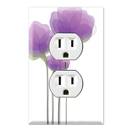 Graphics Wallplates - Purple Watercolor Flowers - Duplex Outlet Wall Plate Cover