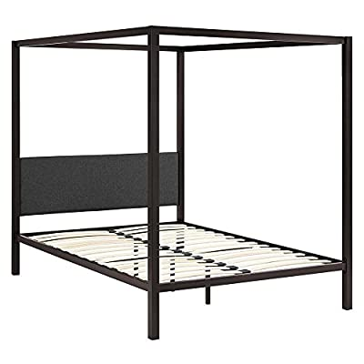 "Modway Raina Metal Queen Canopy Bed Frame With Upholstered Gray Fabric Headboard in Brown Gray - Rustic Cottage Canopy Platform Bed; Non-Marking Foot Caps; Maximum weight capacity 1323 lbs.; Box_2_Height 86; Box_2_Width 14; Box_2_Length 6; Box_2_Weight 73; Box_1_Height 61; Box_1_Width 29; Box_1_Length 3; Box_1_Weight 28; Total Shipping Weight 101; Product Weight 93; Assembly Required Y; Product Dimensions Overall Product Dimensions: 85.5""L x 61""W x 72""H, Headboard Dimensions: 57""W x 18""H, Floor to Top of Bed frame: 12.5""H, Bed Inner Size: 81""L x 60""W Slatted Poplar Wood Support System Powder Coated Sturdy Steel Frame - bedroom-furniture, bed-frames, bedroom - 41ixVQ2UuwL. SS400  -"